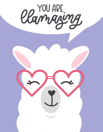 You are llamazing llama quote. Llama motivational and inspirational vector poster. Simple cute white llama drawing with lettering. You are amazing quote with llama.
