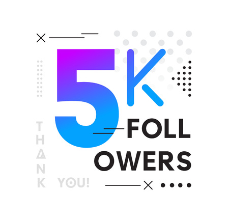 5000 Followers Memphis card with geometric elements. 5k followers memphis poster for social media networks and follower. Thank you followers Banners.