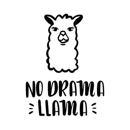 Nodrama Llama vector quote with hand drawn llama. Llama motivational and inspirational quote. Simple cool white llama head drawing, hand drawn vector illustration