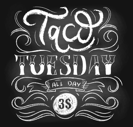 Taco tuesday chalkboard vector poster with lettering and flourishes. Retro tacos advertising for flyers, prints, banners etc. Tacos vintage template for mexican cafe or restaurant with chalk effect.