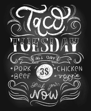Taco tuesday retro poster with lettering, flourishes and chalk effect. Retro tacos advertising for flyers, prints, banners etc. Tacos chalkboard vintage template for mexican cafe or restaurant.