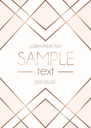 Geometric rose gold design template with blush pink and white abstract shapes. Modern design template for wedding invitation, greeting card, anniversary.  Vector illustration.