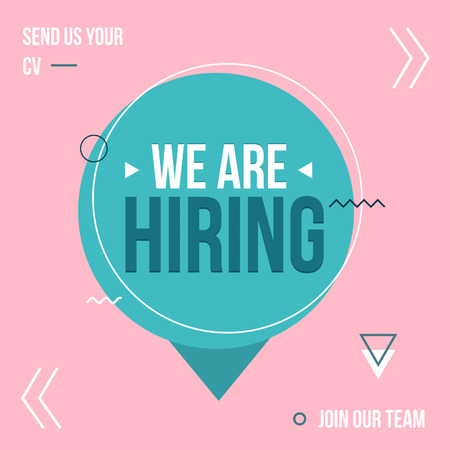 We are hiring poster design concept with pink and blue colors. Business hiring and recruiting template. Vector illustration.