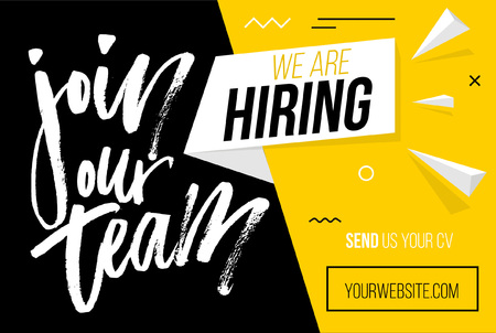 Hiring recruitment design poster. We are hiring brush lettering with geometric shapes. Vector illustration. Open vacancy design template.