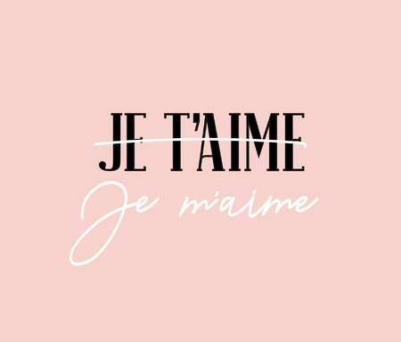 Modern poster with inscription i love you and I love myself in french language Je taime. Je maime. 일러스트