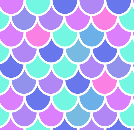 Patrón transparente de cola de sirena colorida. Elemento de decoración de tarjeta de sirena. Fondo mágico de escamas de pescado. Diseño de impresión para textiles, carteles, tarjetas de felicitación, estuches.