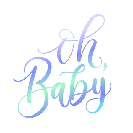 Oh baby holographic lettering inscription for baby shower isolated on white background. Baby shower greeting card. 向量圖像