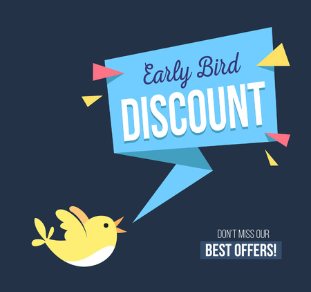 Early bird discount banner with cute bird and geomethic shapes. Promotional design template on blue background with doodles. Vector illustration Vectores