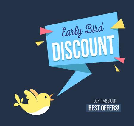 Kortingsbanner voor vroege vogels met schattige vogel- en geomethische vormen. Promotionele ontwerpsjabloon op blauwe achtergrond met doodles. Vector illustratie Vector Illustratie