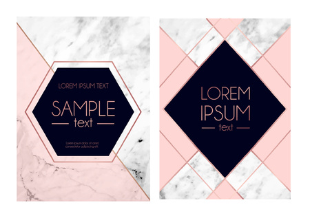 Set of absctract marble textured backgrounds, pink, navy blue colors and rose gold geometric lines. Modern design template for invitation, wedding, greeting card, motivational poster etc. Vector illustration