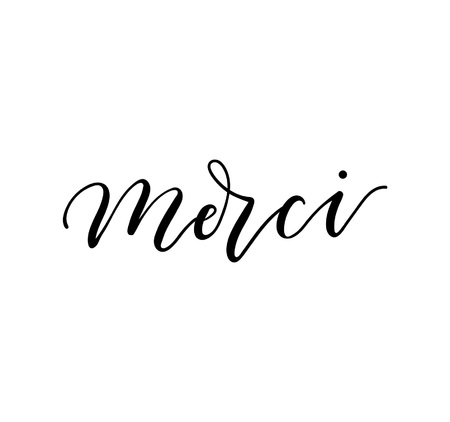Merci lettering inscription in french means