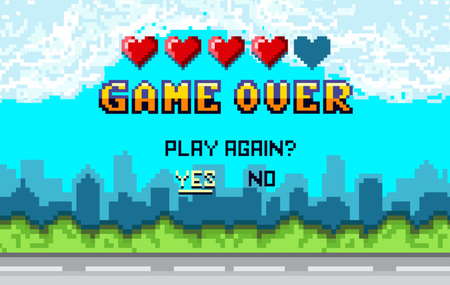 game over Pixel art design with city landscape background. Colorful Pixel arcade screen for game design. Banner with lives and phrase play again?. Retro game design concept. Ilustração