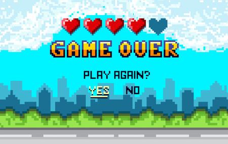 """juego sobre diseño de Pixel art con fondo de paisaje de la ciudad. Pantalla arcade de píxeles coloridos para el diseño de juegos. Banner con vidas y frase """"¿jugar de nuevo?"""". Concepto de diseño de juegos retro."""