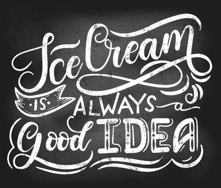 """Diseño de pizarra de helado con inscripción de letras """"El helado es siempre una buena idea"""". Diseño de verano retro para cafetería, restaurante, comida rápida,"""