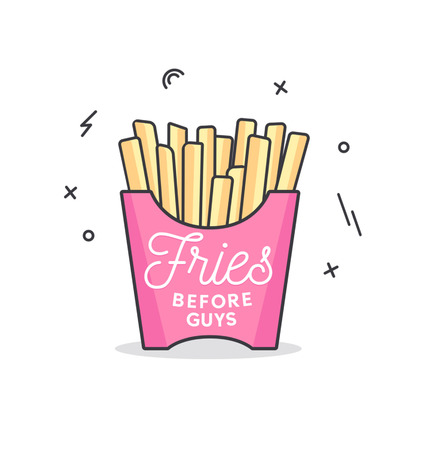 Fries before guys feminine inspirational lettering inscription isolated on blush pink background. Motivational card for friends and sisters with hand drawn calligraphy for party invitation, greeting cards, textile etc. Standard-Bild - 104866441