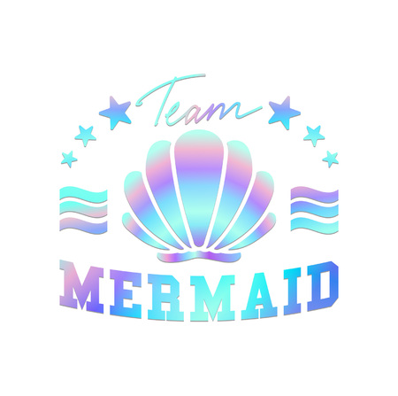 team mermaid design seashells and lettering. Team mermaid inspirational print for t-shirts, posters, cases, mugs etc. Vector illustration.