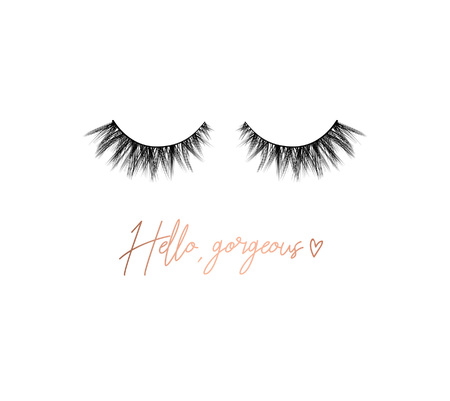 Bonjour magnifique cils design inspirant avec lettrage et cils. Imprimé d'inspiration féminine. Illustration vectorielle.