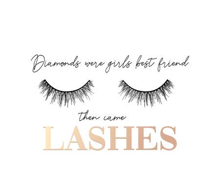 Diamanten waren die besten Freunde der Mädchen, dann kam das inspirierende T-Shirt-Design mit Wimpern und Band. Femininer inspirierender Druck. Vektor-Illustration.