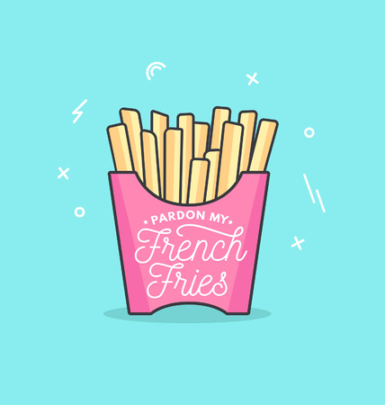Pardon my french fries feminine inspirational poster in trendy linear design isolated on blue background. Motivational card, poster, pin for friends and sisters