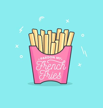 Perdona il mio poster di ispirazione femminile di patatine fritte in un design lineare alla moda isolato su sfondo blu. Biglietto motivazionale, poster, spilla per amiche e sorelle