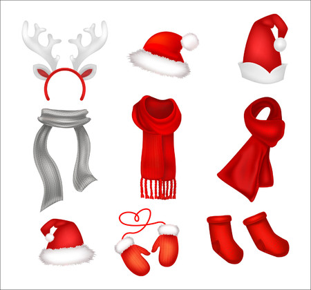 Set of realistic Christmas decorations. Santas hat, gloves, scarfes and socks. Vector illustration