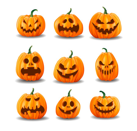 Set di zucche di Halloween realistiche isolate su priorità bassa bianca. Illustrazione vettoriale. Vettoriali