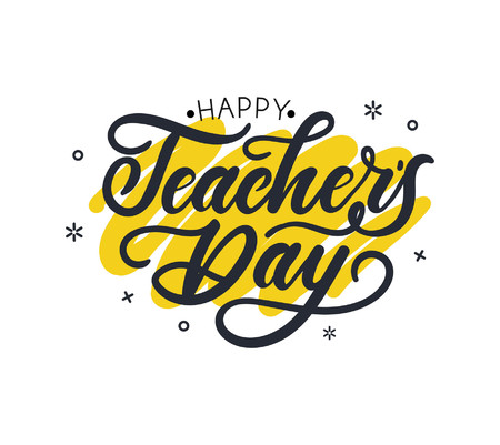 Happy Teacher's day greeting card design with lettering and geometric shapes. Vector illustration for cards, prints etc  イラスト・ベクター素材