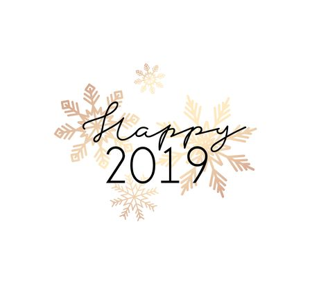 Happy 2019 minimalistic greeting card with rose gold snowflakes