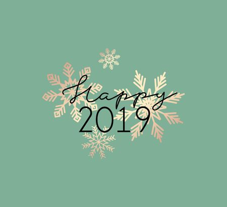 Happy 2019 trendy greeting card template with lettering and golden snowflakes, Vector illustration Ilustrace