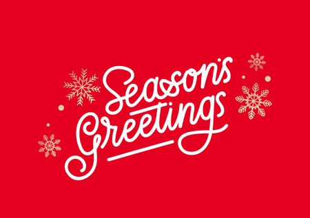 Seasons greetings greeting card with lettering and golden snowflakes.