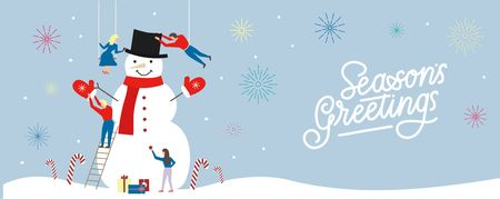 Seasonal card with people building a big snowman and lettering inscription Seasons greetings. Winter teamwork design concept. Illustration