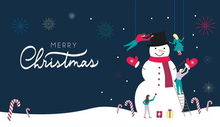 Merry Christmas web banner or greeting card design template with people making snowman in flat style. Illustration