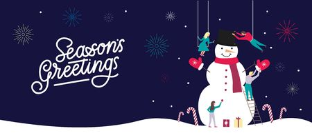 Merry Christmas greeting card design with people making snowman in flat style.