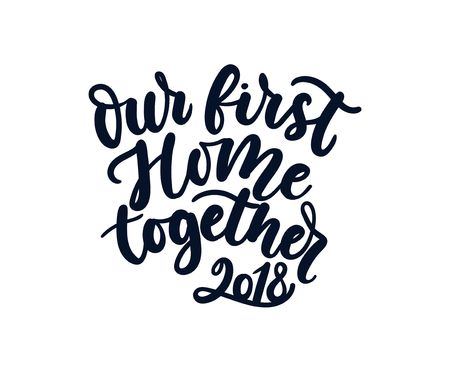 Our first home together greeting card. Cute lettering card