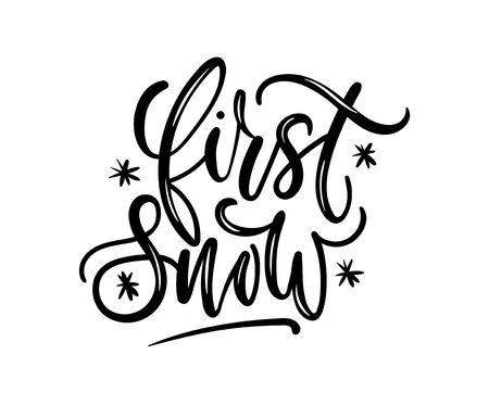 First snow lettering card with brush effect. Cute winter calligraphy for textile,prints, cards etc. Vector illustration