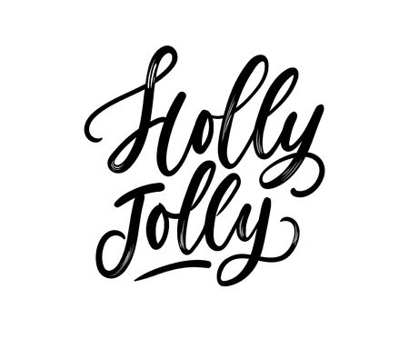 Holly jolly Christmas lettering card with brush effect. Cute winter calligraphy for textile,prints, cards etc. Vector illustration Ilustrace