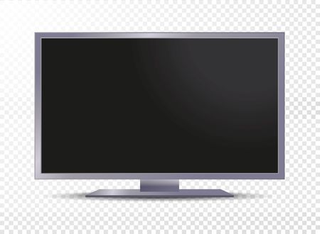 Realistic tv screen isolated on transparent background. Vector illustration