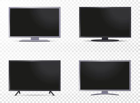 Set of Realistic tv screens on different colors isolated on white background. Vector illustration
