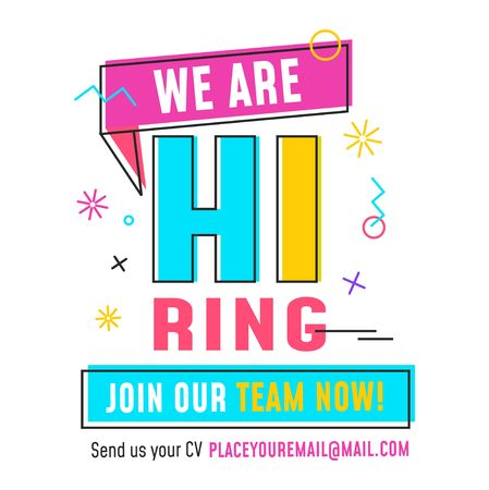 We are hiring recruitment design template with geometric shapes. Vector illustration Ilustrace