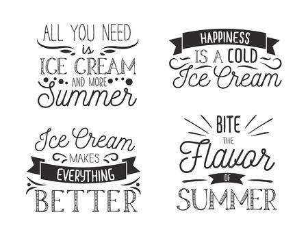 Set of inspirational ice cream typography labels. Summer inspirational poster. Vector illustration