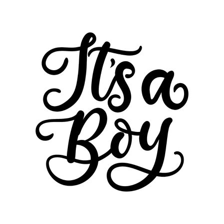 Its a boy lettering card for baby shower invitation or poster. Vector illustration