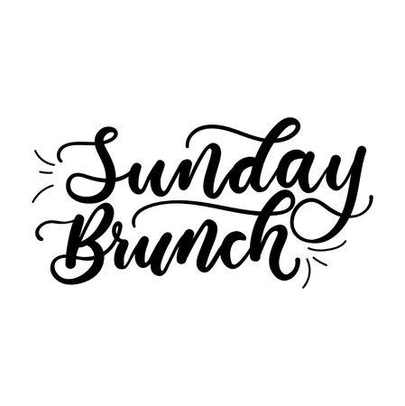 Iscrizione minimalista per il brunch domenicale per biglietti, poster, calendari, ecc. Illustrazione vettoriale