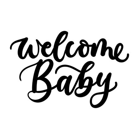 Welcome baby lettering inscription for baby shower invitation or greeting card. Vector illustration Ilustrace
