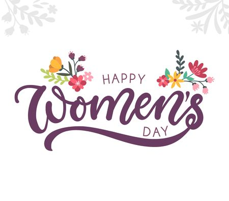Happy womens day greeting card with flowers and lettering inscription for cards, posters, calendars etc.