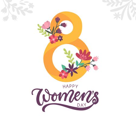 Happy womens day greeting card with floral elements and lettering. Womens day vector illustration