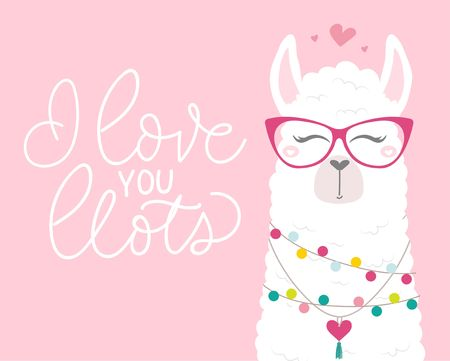 Cute illustration with llama in love, doodles and lettering inscription I love you llots. Inspirational greeting card with alpaca for birthday, party, baby shower, valentines day. Vector illustration