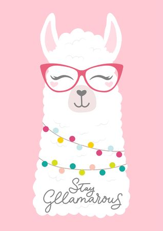 "Cute llama head illustration with doodles and lettering inscription ""Stay Gllama-rous"". Inspirational and motivational card with alpaca. Vector illustration"