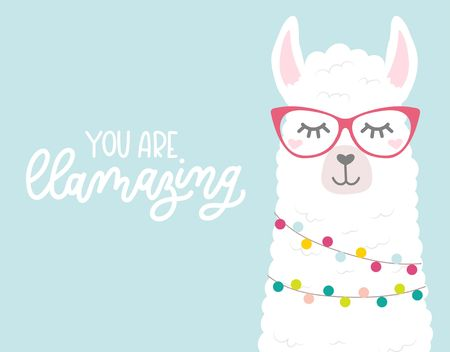 Cute illustration with llamas in love, doodles and lettering inscription I love you llots. Inspirational greeting card with alpaca for birthday, party, baby shower, valentines day. Vector illustration Ilustrace