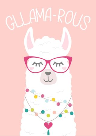 Cute llama illustration with doodles and lettering inscription