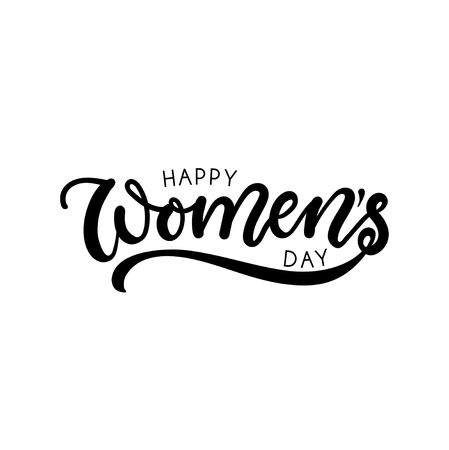 Happy Womens day greeting card with lettering. Minimalistic lettering card design.Vector illustration.